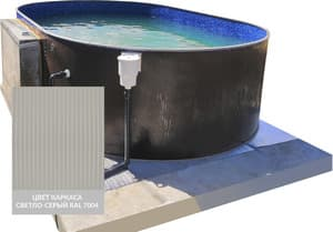 Сборный овальный бассейн ЛАГУНА 36624402 370х244х125 (светло-серый)