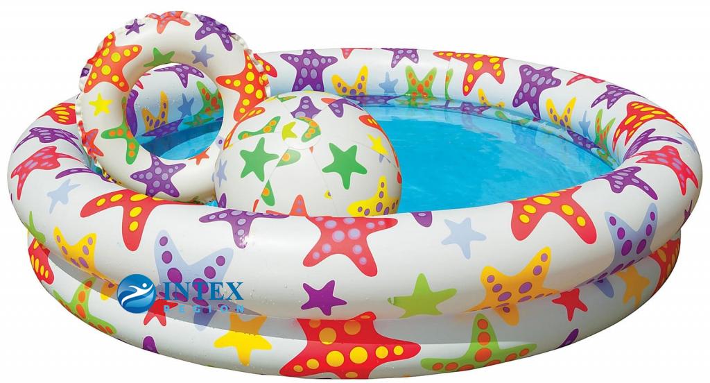 Бассейн Звезды с мячом и кругом Intex арт.59460, 122х25см от 2 лет