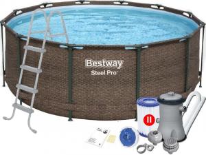 """Каркасный бассейн Bestway 5617U Steel Pro 366х122 см """"Ротанг"""", фильтр-насос, лестница"""